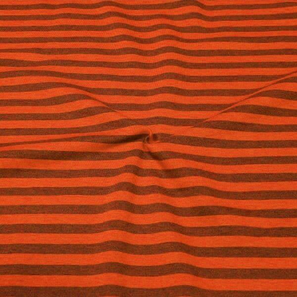 Sweatshirt Stoff Streifen Duo Melange Orange