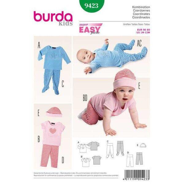 Burda 9423 Schnittmuster für Babykombination Langarmshirt, Kurzarmshirt, Hose, Stramplerhose und Mütze