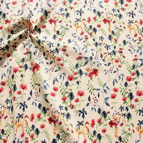 Viskose-Leinen Stoff Blumen Mix Natur-Multicolor