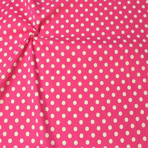 Stretch Baumwolle Köper Classic Dots Pink