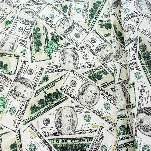 Dekostoff Dollar Noten Ecru