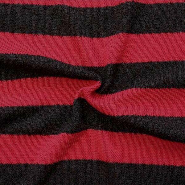 """Strick Jersey """"Blockstreifen quer"""" Farbe Schwarz-Rot"""