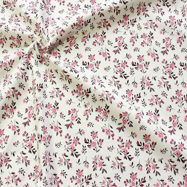 Interlock Baumwoll Stretch Jersey Kleine Blütenzweige Ecru-Rosa