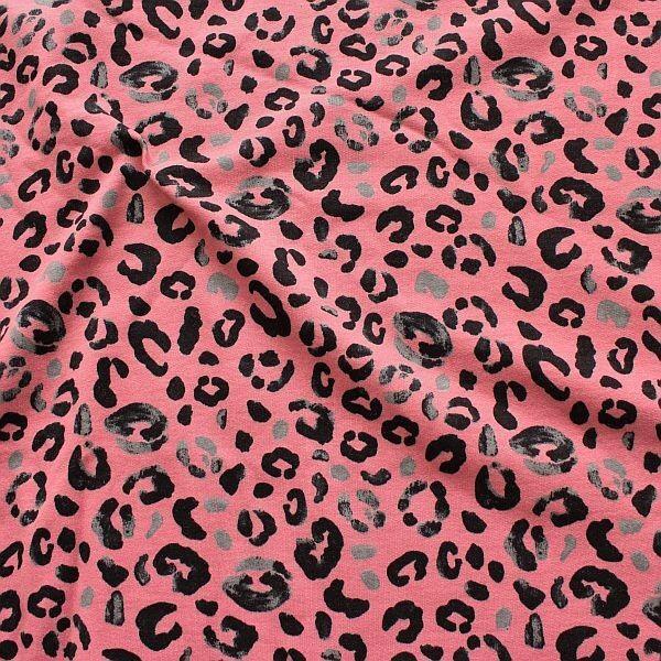 Sweatshirt Baumwollstoff French Terry Leopard Alt-Rosa