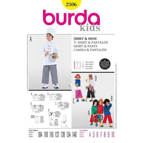 Burda 2506 Mehrgrößenschnittmuster Shirt und Hose abwandelbar als Koch, Pirat, Struwwelpeter, Max und Moritz