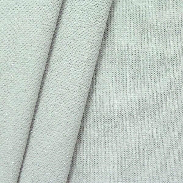 Baumwoll Bündchenstoff glatt Lurex Glitzer Hellgrau Silber