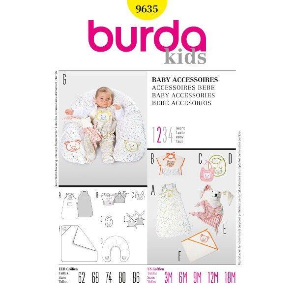 Burda 9635 Stillkissen, drei Lätzchen-Varianten, Schlafsack, Badetuch und Schmusetuch
