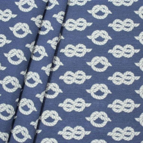 Dekostoff Maritime Knoten Blau Weiss
