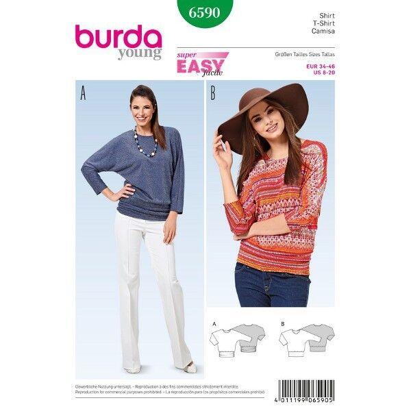 Shirt - Kimono-Ärmel - Hüftbund, Gr. 34 - 46, Schnittmuster Burda 6590
