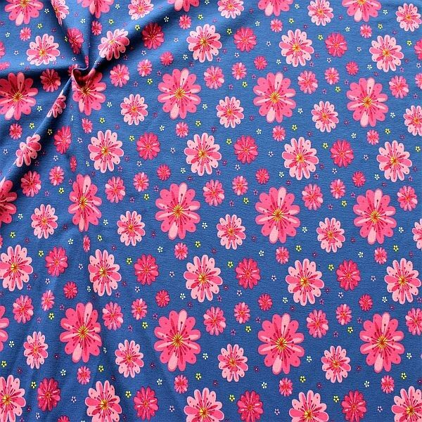 Baumwoll Stretch Jersey Blossom Mix Blau