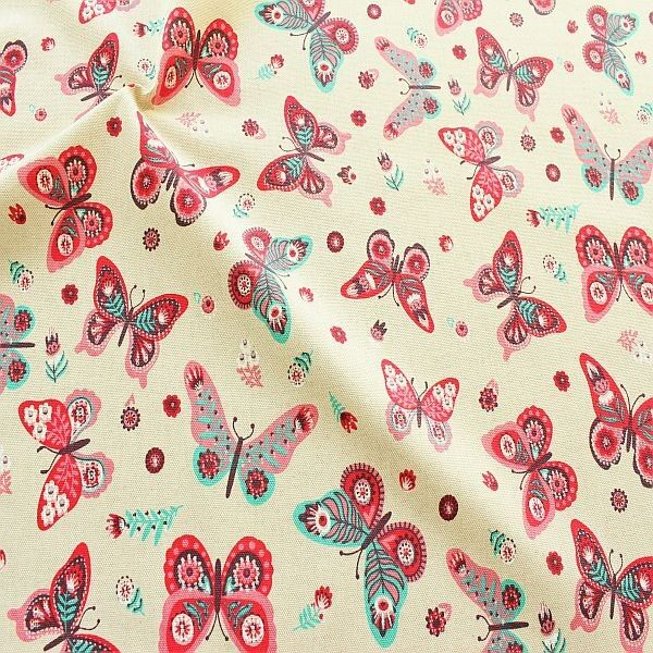 Dekostoff Schmetterlings Mix Natur