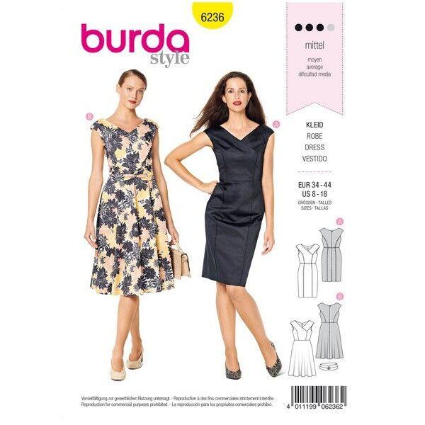 Kleid mit Wickeleffekt – V-Ausschnitt – überschnittene Schultern, Gr. 34 - 44, Schnittmuster Burda 6236