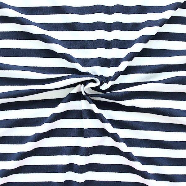 Navyblauer Viskose-Stretch-Jersey mit weißen Streifen