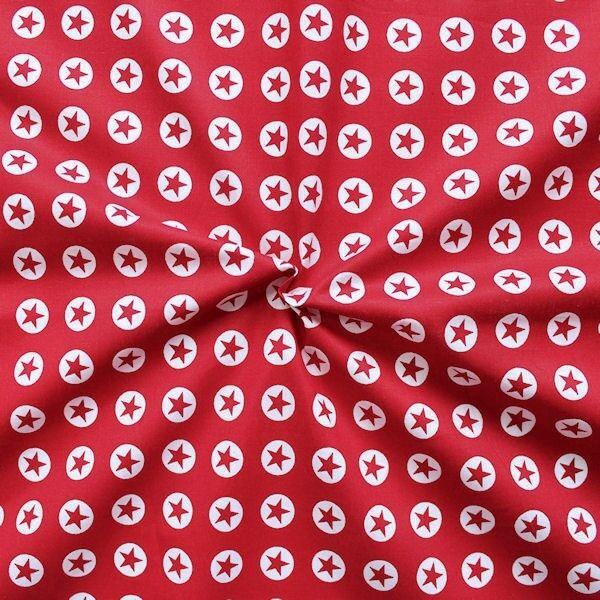 """100% Baumwollstoff """"Stern im Kreis klein"""" Farbe Rot"""