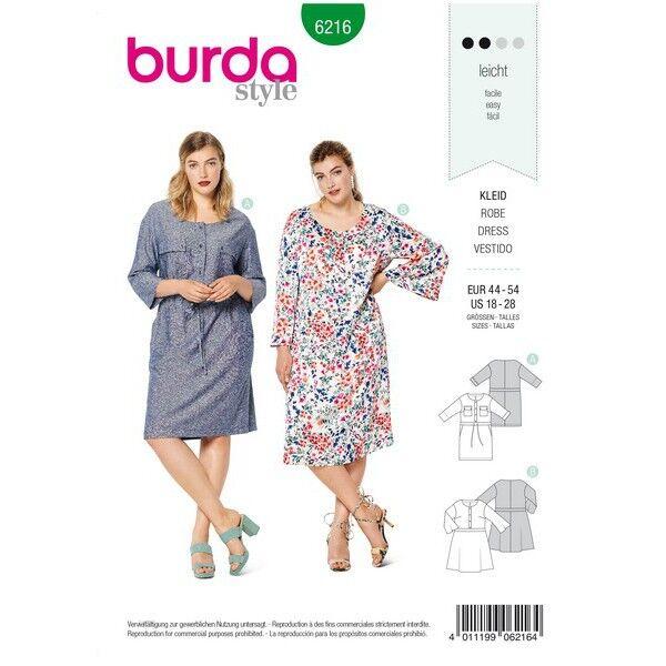 Kleid mit vorderseitigem Knopfverschluss und Taillenblende, Gr. 44 - 54, Schnittmuster Burda 6216
