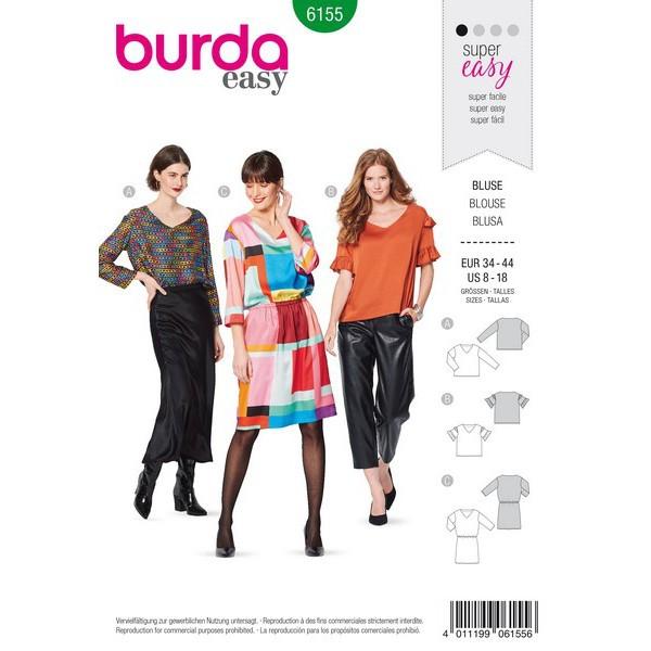 Bluse und Kleid – V-Ausschnitt, Gr. 34 - 44, Schnittmuster Burda 6155
