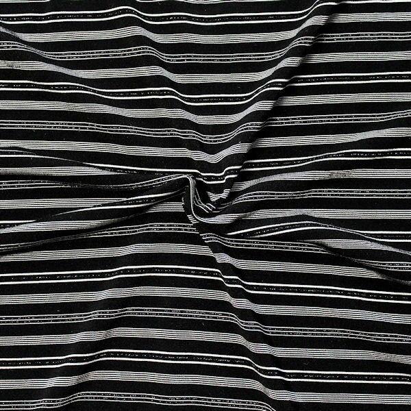 Polyester Stretch Jersey Streifen Elegance  Schwarz