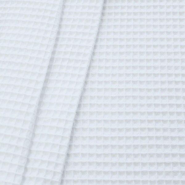 100% Baumwolle Waffel Piqué Farbe Weiss