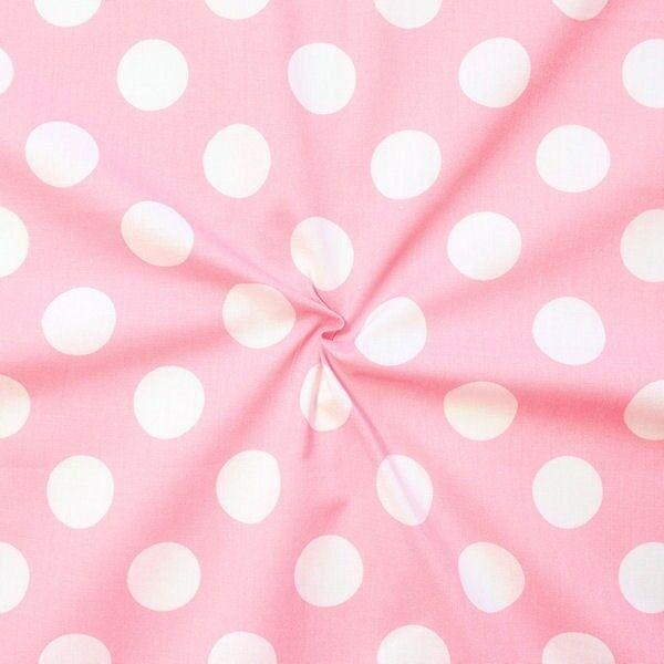 "100% Baumwollstoff ""Polka Dots groß"" Farbe Rosa-Weiss"