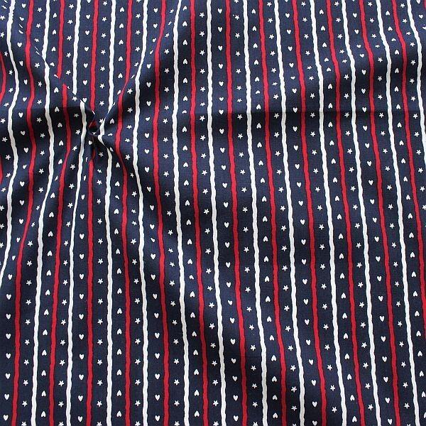 Baumwolle Popeline Sterne Herzen Streifen Navy-Blau