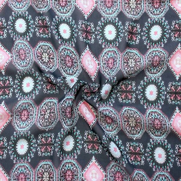 """Polyester Chiffon """"Mandala Ornamente"""" Farbe Dunkel-Blau"""