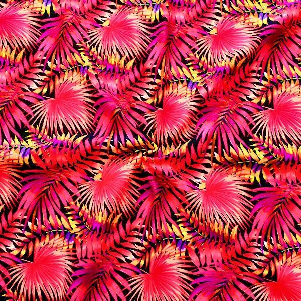 Bi-Stretch Jersey Badeanzug Stoff Neon Palmblätter Pink