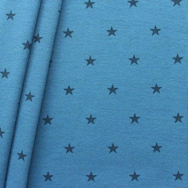 Baumwoll Bündchenstoff Sterne Mittel glatt Blau