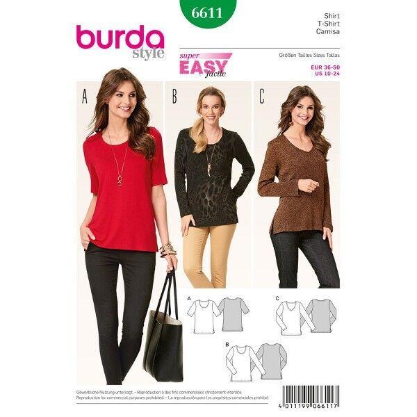 Shirt - runder Ausschnitt - V-Ausschnitt, Gr. 36 - 50, Schnittmuster Burda 6611