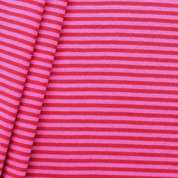 """5,10 Meter - Baumwoll Bündchenstoff """"Ringel glatt 2"""" Farbe Rot-Pink"""