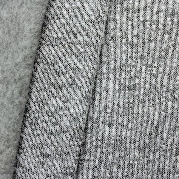 Strick Jersey Melange Hell-Grau