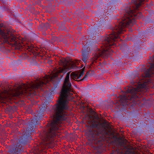 "Futterstoff Jacquard ""Millefleurs 8"" Farbe Blau-Lila Rot changierend"