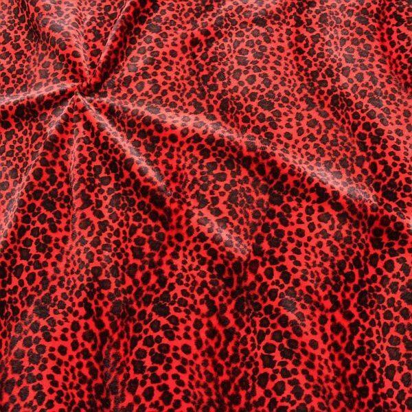 Leopard Tierfellimitat Velboa Rot