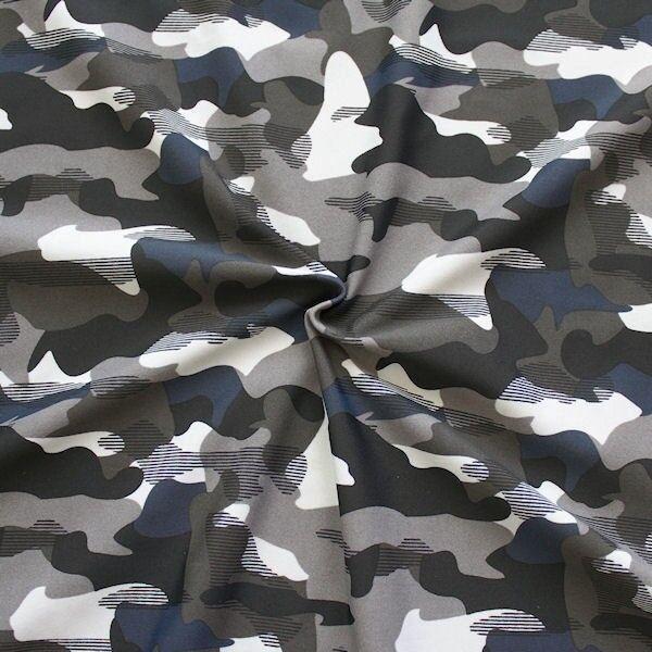 "Bi-Stretch Jersey Badeanzug Stoff ""Camouflage"" Farbe Grau"