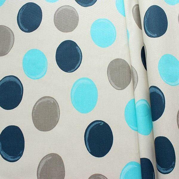 Baumwollstoff beschichtet Punkte XL Grau-Blau