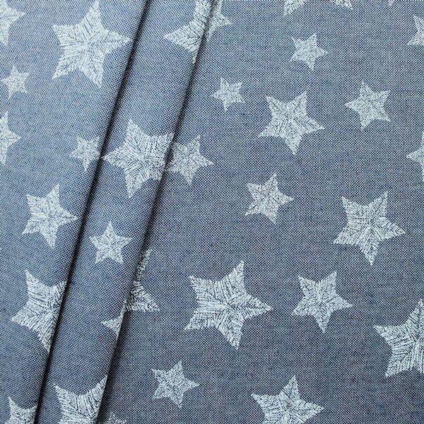 """Dekostoff """"Stitched Stars"""" Farbe Jeans-Blau"""