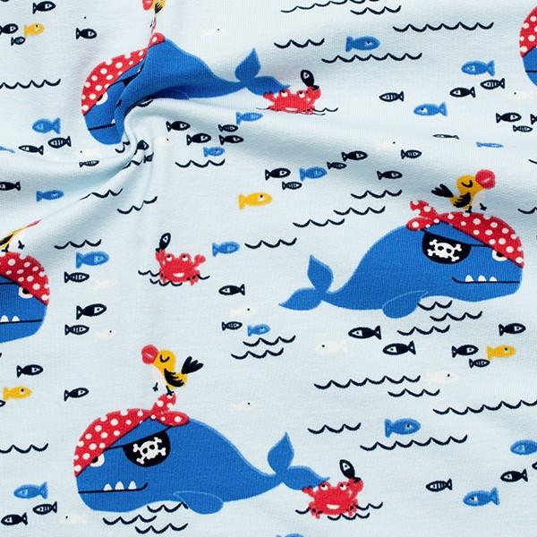 Sweatshirt Baumwollstoff French Terry Piratenwal Hell-Blau