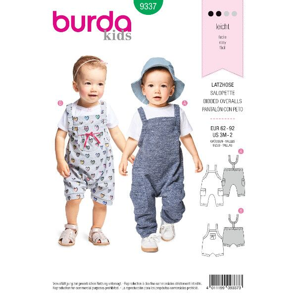 Burda 9337 Schnitt für Latzhose mit Gummidurchzug in zwei Längen für Mädchen und Jungen