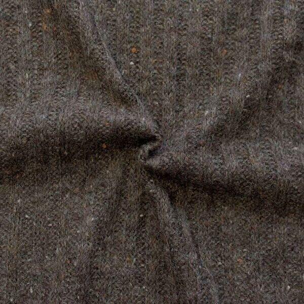 """Strickstoff gerippt """"Wool Look"""" Farbe Braun meliert"""
