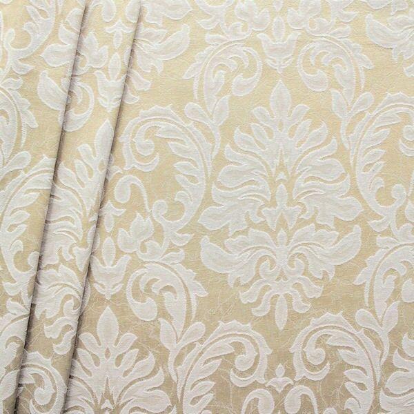 Dekostoff Jacquard Floral Barock Beige-Weiss