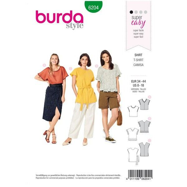 Blusenshirt – überschnittene Schultern – V-Ausschnitt vorne oder hinten, Gr. 34 - 44, Schnittmuster Burda 6204