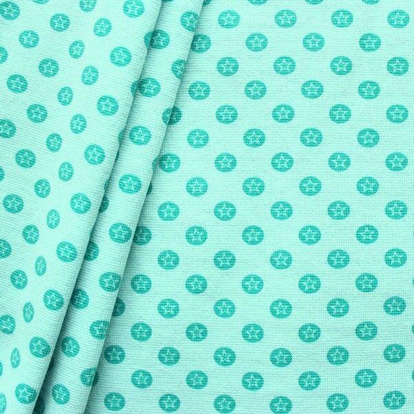 "Baumwoll Bündchenstoff ""Stern im Kreis glatt"" Farbe Mint-Grün"