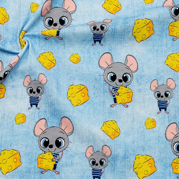 Baumwoll Stretch Jersey Mäuse und Käse Jeans Look Hell-Blau