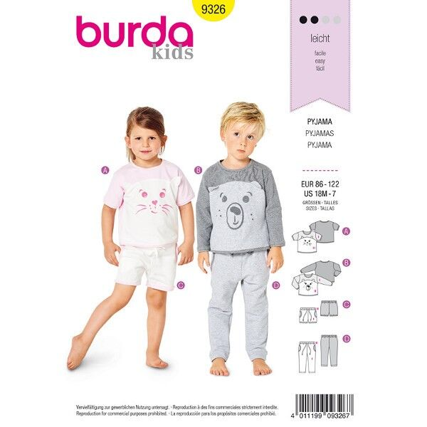 Pyjama, Gr. 86 - 122, Schnittmuster Burda 9326