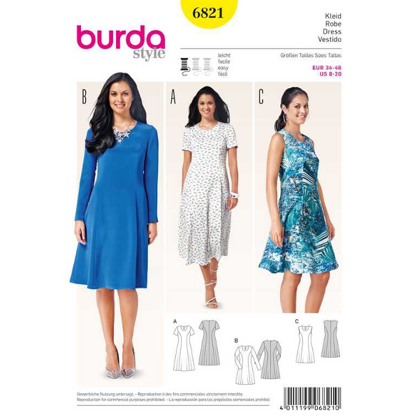 Kleid – tailliert mit ausgestellten Bahnen, Gr. 34 - 46 ...