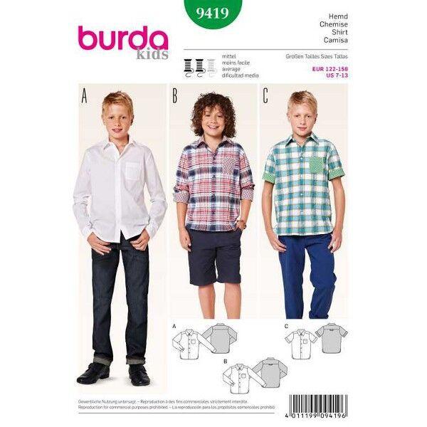 Burda 9419 Schnittmuster Hemd für Jungen in drei Varianten