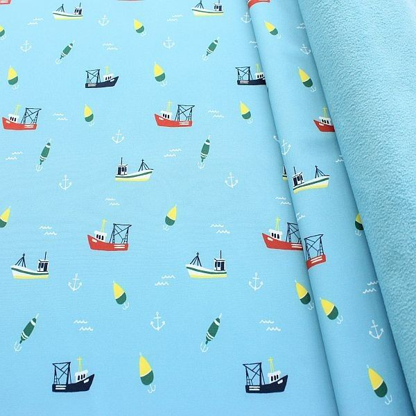 Softshell Fleece Stoff Fischerboote Blau