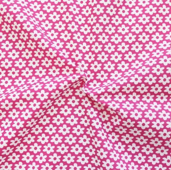 Baumwolle Popeline Blümchen Pink