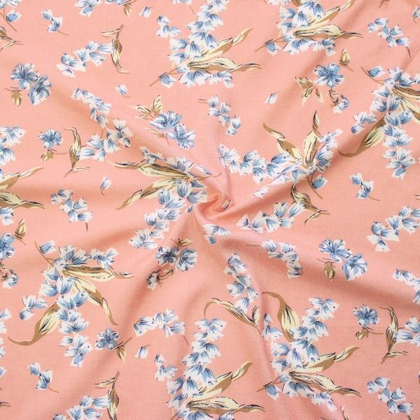 Viskose Javanaise Wiesenblumen Lachs