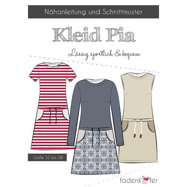 """Fadenkäfer Schnitt """"Kleid Pia"""" lässig, sportlich und bequem Größe 32 - 58"""
