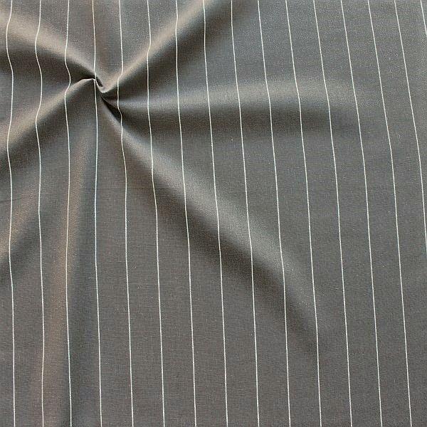 Viskose-Leinen Stoff Fine Stripes Taupe